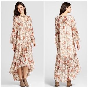 Mossimo Chiffon Floral Cream High Low Maxi Dress